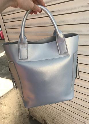 Кожаная сумка сумка кожаная светло голубая