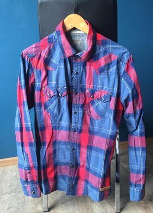 Мужская рубашка приталенная в клетку s-m edc