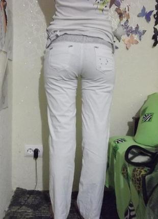 Трендовые белые  котоновые брюки2 фото