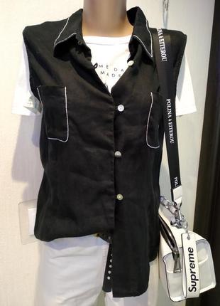 Стильная крутая блузка рубашка женская без рукавов,льняная с красивой отстрочкой