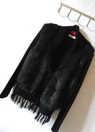 Стильная кофта кардиган на завязках с мехом впереди и бахромой 🔸 бренд yessika