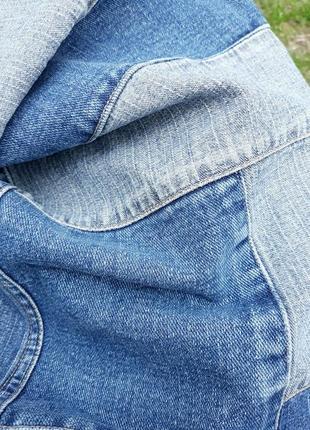 Джинсовая юбка миди с кусочков ткани стильная юбка миди3 фото