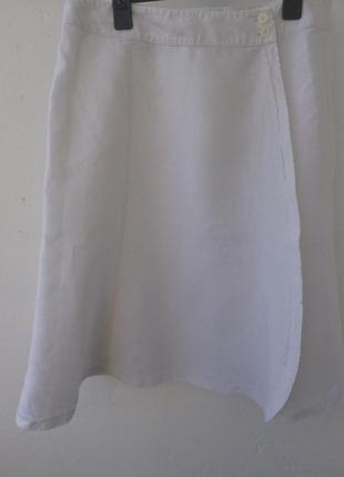 Супер стильная льняная юбка назапах