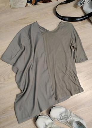 Отличная футболка-блузка асимметричная тонкая хлопковая
