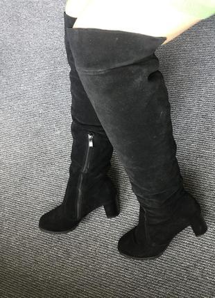 Зимовие сапоги сапожки ботфорди ботфорты на каблуці європейка!дешево замш