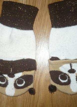 Перчатки митенки панда 10-14лет для девочки
