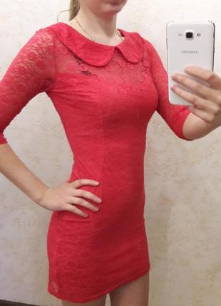 Платье кружевное розовое noname