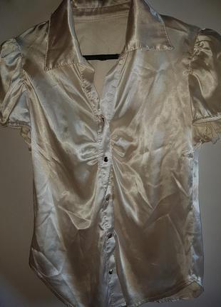 Атласная блузка рубашка наш 40-42р-р