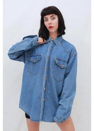 Джинсовая винтажная рубашка оверсайз