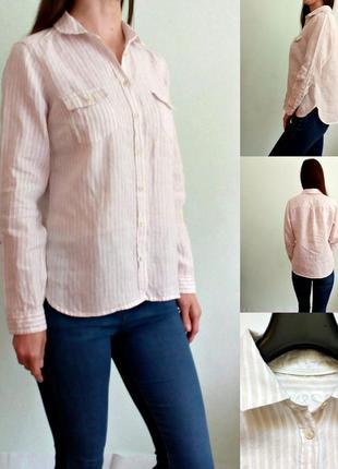 Льняная рубашка в полоску свободного кроя