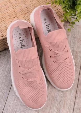 Розовые летние кроссовки в сеточку кеды мокасины1 фото
