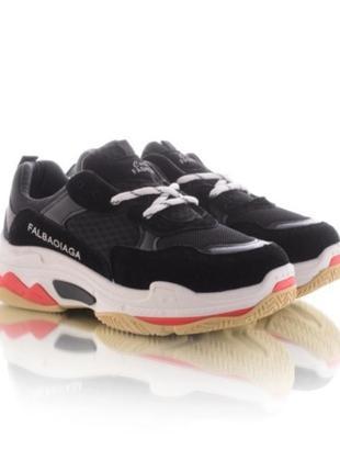 Черные кроссовки на платформе на толстой подошве1 фото