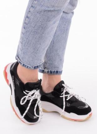 Черные кроссовки на платформе на толстой подошве2 фото