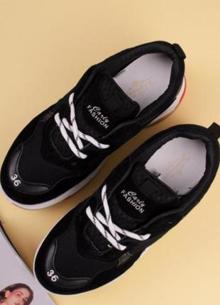 Черные кроссовки на платформе на толстой подошве3 фото
