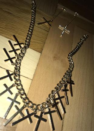 Серьги и подвеска под золото с крестами, готика