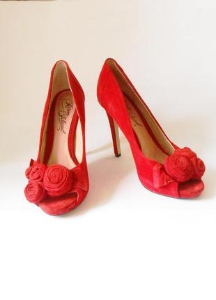 Качество! кожа! замшевые туфли с открытым носком river island, р.41-42 код t4219