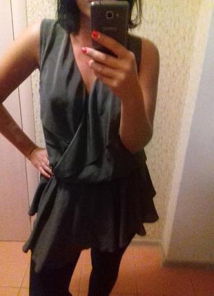 Блуза натуральный шелк с баской