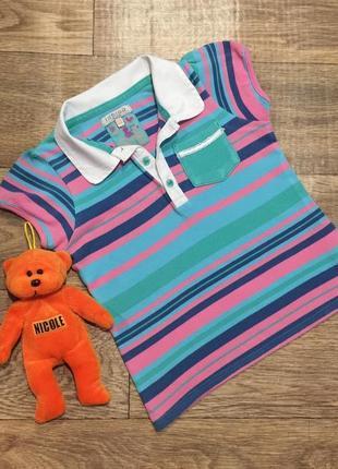 Качественная,полосатое футболка -поло indigo для девочки ,на 5-6 лет