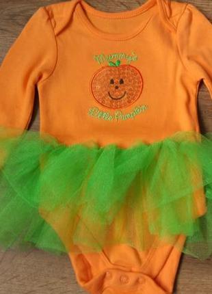 Новый очаровательный бодик платье тыковка george на 3-6 месяцев