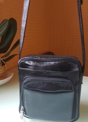 Отличная мужская практичная кожаная сумочка visconti original