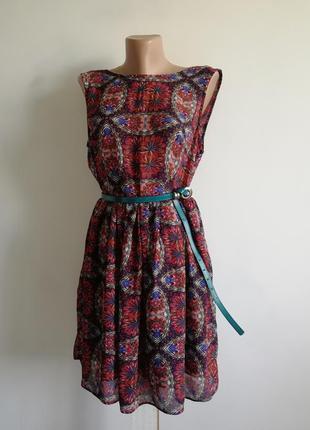 👑 приталенное,расклешенное платье миди в цветочный принт 🌹 платье а-силуэта
