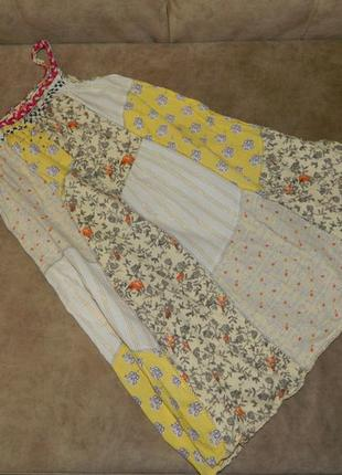 Платье сарафан бежевый детский на бретелях косичках в цветочек на 8 лет next.