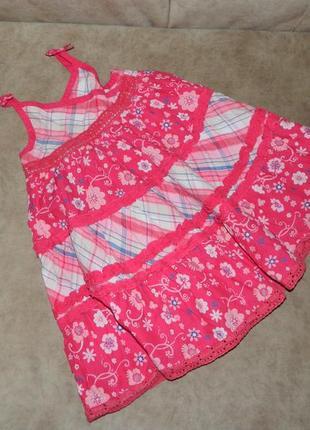Платье пышное детское розовое в цветочек на девочку 12-18 мес. matalan.