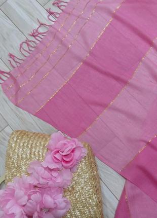 Палантин, шаль из вискозы нежно-розового цвета
