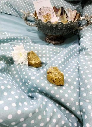 Комплект постельного белья из натурального хлопка мятного цвета № 10-103