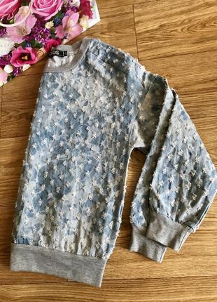 Стильная оверсайз джинсовая/котоновая кофта/свитшот/реглан
