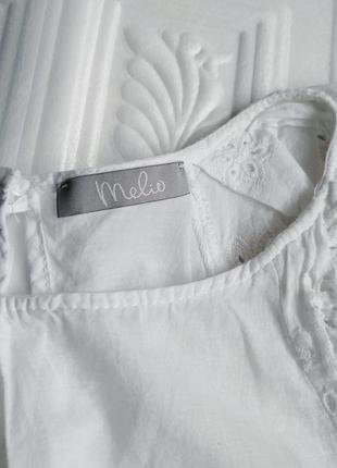 Легкая нарядная батистовая блуза футболка с перфорацией melio5 фото
