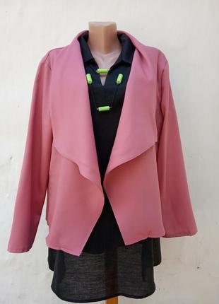 Нежный караловый жакет на запах oversize свободного кроя,пиджак,болеро.