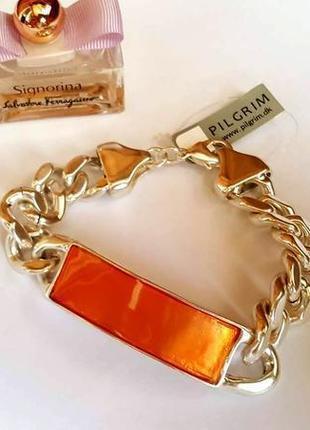 Яркий летний браслет цепь с пластиной оранжевая эмаль от pilgrim дания