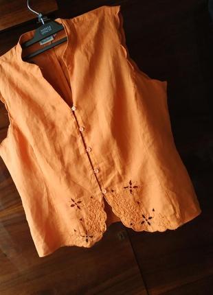 Блуза блузка натуральная лен простая ткань яркая летняя