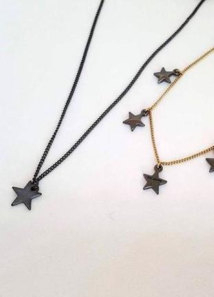 Набор цепочка с кулоном и браслет звездочки гематит, позолота pilgrim дания