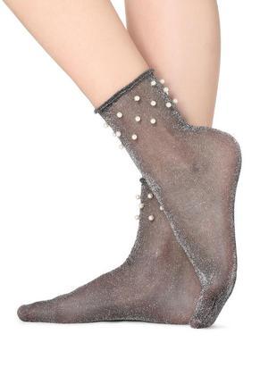 Блестящие носки с жемчужинами calzedonia