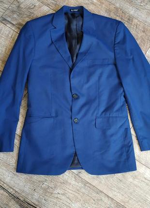 Синий нарядный пиджак (електрик) by luca в клетку-46р