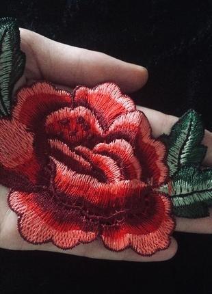 Роза нашивка патч вышивка средний размер 14 см