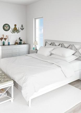 Комплект постельного белья, созданный из белого страйп-сатина № 10-1012 фото