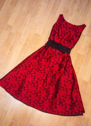 Платье шикарное красное чёрное с поясом пышное фатин подкладки john lewis