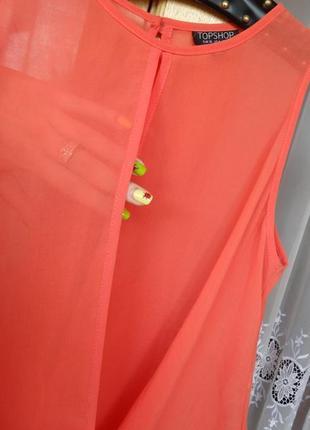 Снизила цену яркая коралловая блузка topshop s- m размера