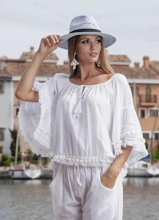 Блуза белая хлопок для летнего отдыха indiano 1300 fresh cotton
