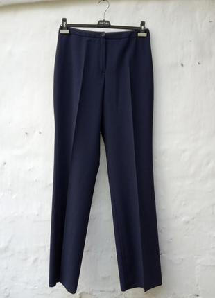 Новые стильные синие базовые брюки мом с высокой посадкой, классические,офисные,шерстяные.