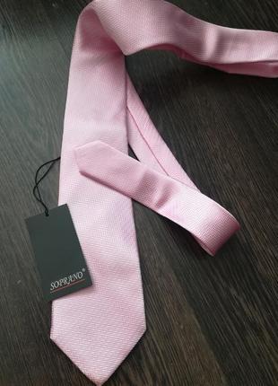 Нежно-розовый галстук, 100% шелк
