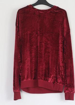 Красный бархатный свитшот zara
