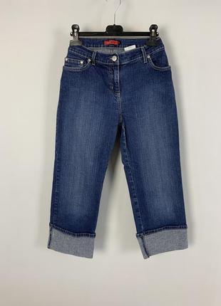 Качественные укороченные синие коттоновые джинсы капри next