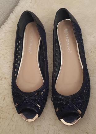 9c6718d5f5f2 Красивые нарядные туфельки#балетки с открытым носочком stephan темно-синего  цвета