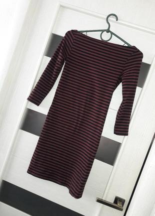 Платье миди карандаш в полоску рукав 3/4 от topshop
