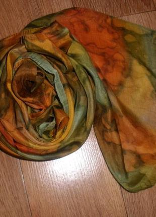 Красивый батик шелковый шарф 100% шелк /175*25 см