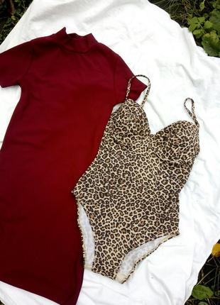 Леопардовый купальник сдельный слитный